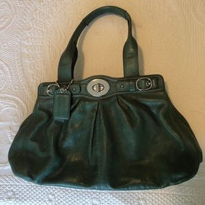 Emerald Green Authentic Coach Leather Bag